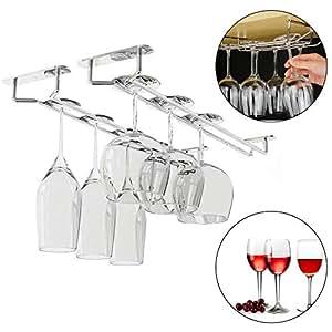 portabottiglie (4 pezzi) 33,5 x 12 x 6cm - sotto il portabottiglie da cucina in acciaio inox con viti e tasselli - per appendere cocktail o flauti champagne per cucina, bar, pub o ristorante