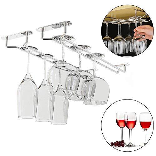 Unter Kabinett Wein Gläserhalter (4 stck) mit Schrauben & Dübel 33,5x12x6cm - Verchromter Stahl StemwareHalter zum Aufhängen von Cocktail oder Champagnerflöten für Küche, Bar, Pubs, Restaurants