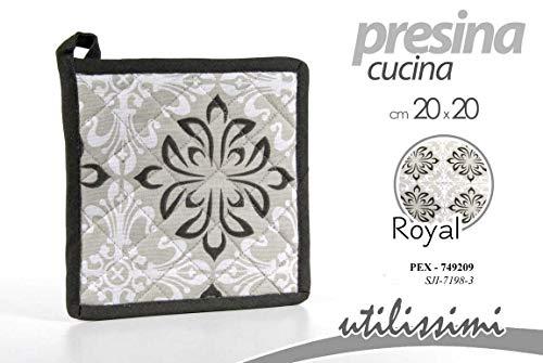GICOS IMPORT EXPORT SRL Set 2 pz presina Forno Cucina in Tessuto 20 * 20 cm  Decoro Royal PEX-749209