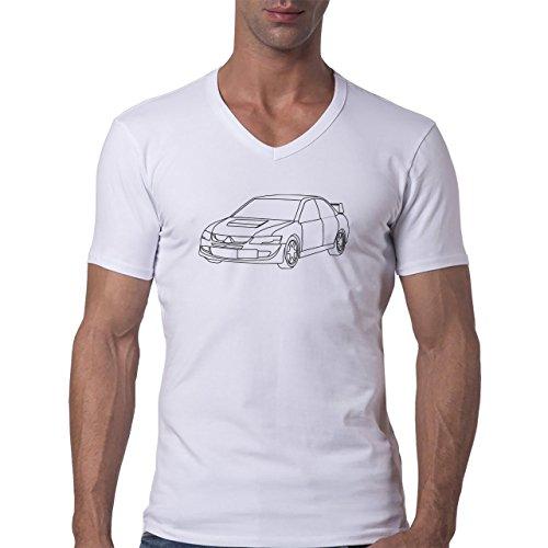 Car Vehicle Four Wheels Auto Evolution White Herren V-Neck T-Shirt Weiß