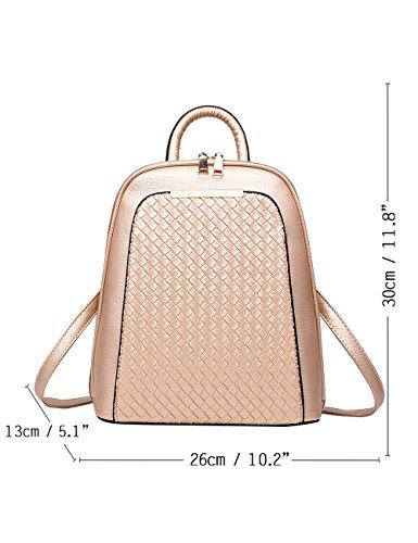 Menschwear PU Zaino Satchel Daypack sacchetto di scuola Argento Oro