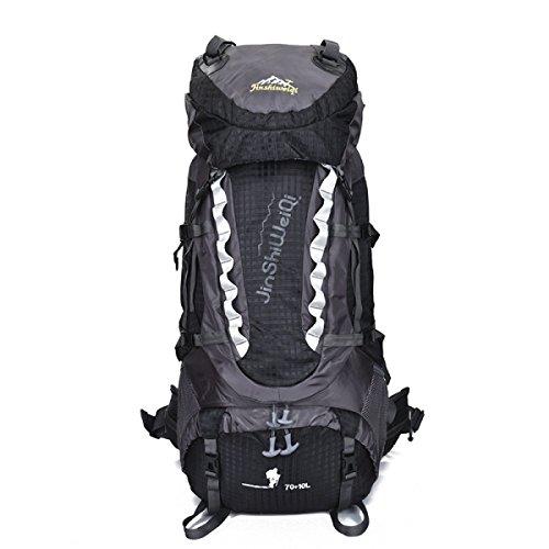 80L Außen Bergsteigen Tasche Mit Tragen Das System Klammer Reise Rucksack Black