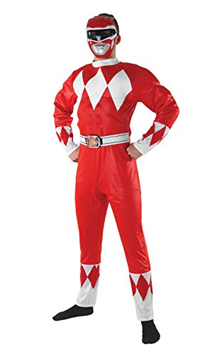 Kostüm Power Rangers Ranger Red (Rubie 's Offizielles Red Power Ranger Erwachsene Fancy Kleid Superheld Mighty Leinwanddruck Rangers Herren)