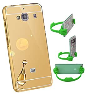 Aart Luxury Metal Bumper + Acrylic Mirror Back Cover Case For RedMiMi2S Gold+ Flexible Portable Mount Cradle Thumb OK Designed Stand Holder