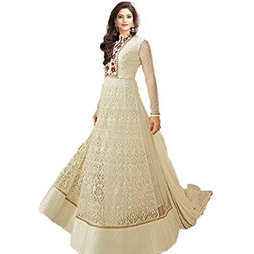 Clothfab Women Net Embroidered Semi-Stitched Designer Party Wear Salwar Suit Dress Material...