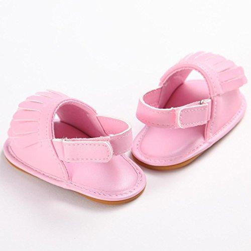 Sandales bébé,Transer ® Bébé 0-18 mois fille garçon Tassel Crib chaussures souples semelle anti-dérapant sandales Rose