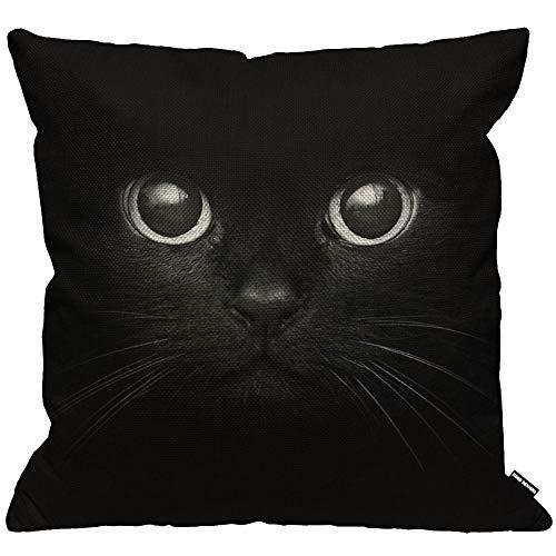 HGOD DESIGNS Kissenbezug Schwarz Katze Cat Zeige Zwei Augen Kissenhülle Haus Dekorativ Für Männer/Frauen/Jungen/Mädchen Wohnzimmer Schlafzimmer Sofa Stuhl Kissenbezüge 45X45cm