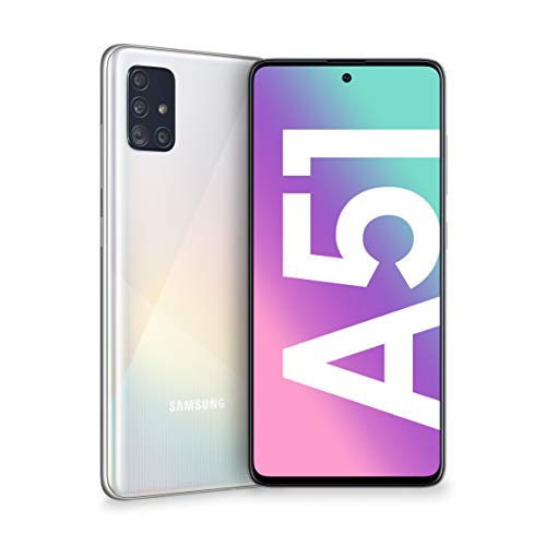 samsung galaxy a51 smartphone, display 6.5 super amoled, 4 fotocamere posteriori, 128 gb espandibili, ram 4 gb, batteria 4000 mah, 4g, dual sim, android 10, 172 g, (2020) [versione italiana], white