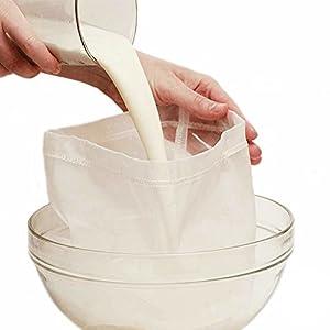 Rocita Milch Sieb Nussmilchbeutel | Passiertuch | Filterbeutel Set für vegane Milchalternativen wie Nussmilch, Mandelmilch, Frucht-/Gemüsesaft und Smoothies Sieb 2pcs