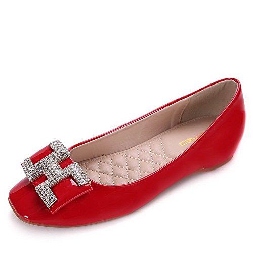 AalarDom Femme Matière Souple Tire Carré à Talon Bas Couleur Unie Chaussures Légeres Rouge-Verni