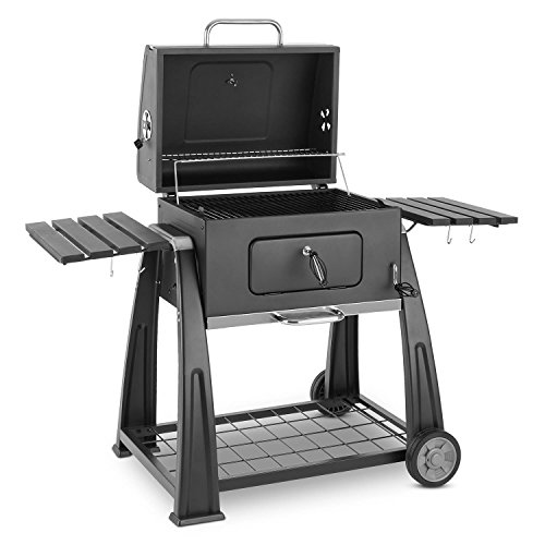 Klarstein Bigfoot Charcoal Grill Smoker BBQ Grill (Large Barbecue Area of 55 x 40 cm, Smoking Hood with a Thermometer and Two Ventilation Flaps, Steel) Black