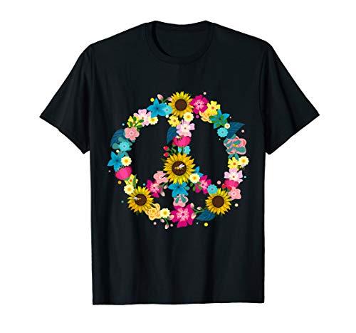 Blumiges Peace Symbol 60er 70er Kostüm Geschenk für Hippies T-Shirt