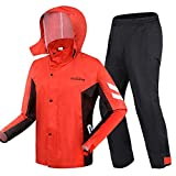 Raincoat Outdoor Impermeabile Pioggia Pantaloni Tuta, Adulto Portatile Multifunzionale a Cavallo Giacca Impermeabile Tempesta di Pioggia Impermeabile (Color : Red Fight Black, Size : XXXL)