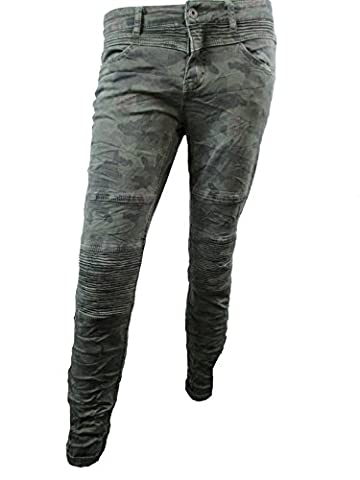 Italy Denim Biker Jeans Camouflage Armyhose Damenjeans Röhrenjeans Röhre Chino