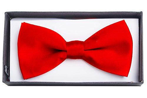 Shenky Fliege Schleife für Anzug Hemd (one size, Rot mit Box) (Designer-kleidung Echte)