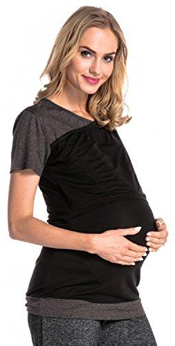 Happy Mama. Damen Umstands Stillzeit T-shirt Lagendesign Kontrastdetails. 011p Schwarz & Graphit Melange