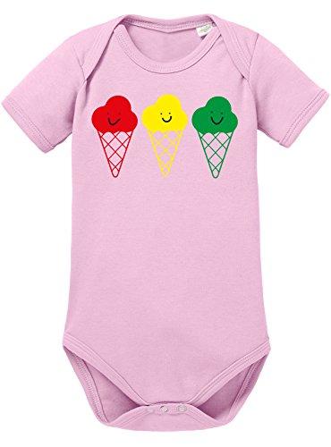 Buntes Eis - Niedliche bunte Eistüten mit Gesicht - Bio Baby Kurzarmbody