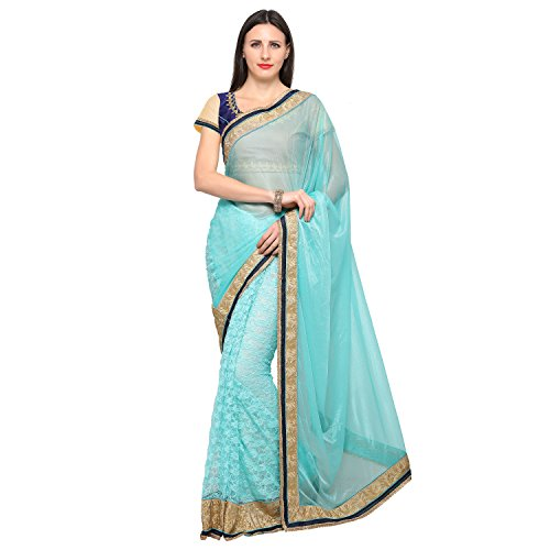 VOOLKA Embroidered Fashion Lycra, Net Saree (247 Light Blue)  available at amazon for Rs.699