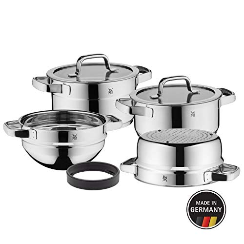 WMF Compact Cuisine - Batería de cocina 4 piezas, olla, cacerola, cazuela, cazo para mezclar de 20...
