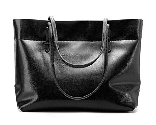8a9c385391949 Panzexin Damen Echtes Leder Handtaschen Damen Henkeltaschen Elegante  Umhängetasche für Damen weibliche Schultertasche Schwarz