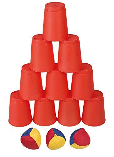 Idena 40416 - Ballwurfspiel mit 10 Bechern und 3 Bällen, bunt Ball Werfen Spielzeug
