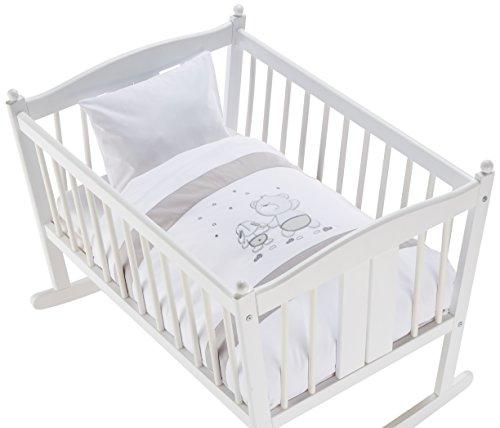 Easy Baby 815-46 Parure de lit avec broderie de qualité motif Friends, 80/80 Plus 35/40, Grey