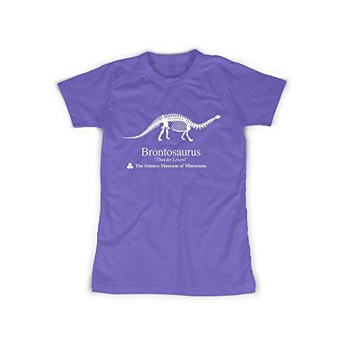 Damen T-Shirt Brontosaurus Dinosaurier Lila Frauen Pullover mit Kapuze Science Museum of Minnesota Mädchen TShirt Girl Top Shirts Fan Serie TV Naturkunde (S, Lila) (Minnesota Girl)