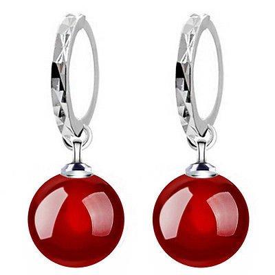 Klaritta e908 - eleganti orecchini pendenti a goccia, placcati in argento, con pietra d'agata naturale, colore: rosso