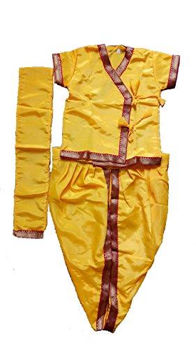PartyHut Krishna Janmasthmi Dress for Baby Boy with Waist Belt and Free Bansuri (8 Months- 2 Years)