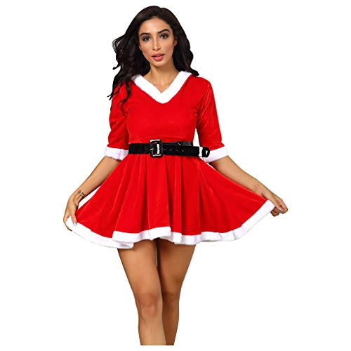 ESAILQ Kleider Frauen Weihnachten Festival V-Neck Halbarm Kapuzenkleid Mit GüRtel S-3XL
