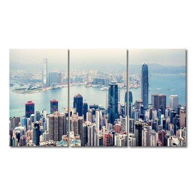 WandbilderXXL Gedrucktes Leinwandbild Hongkong Skyline 180x100cm - in 6 verschiedenen Größen. Fertig gespannt auf Holzkeilrahmen. Günstige Leinwanddrucke für Kinderzimmer Schlafzimmer.