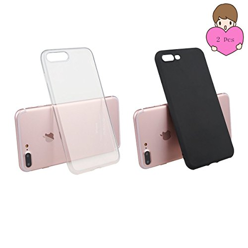 IPhone 6S / 6 Case, Apple phone Case, reduce scratches, shock, protective cover transparent cover [transparent + black 2pcs] 7plus Transparent and black