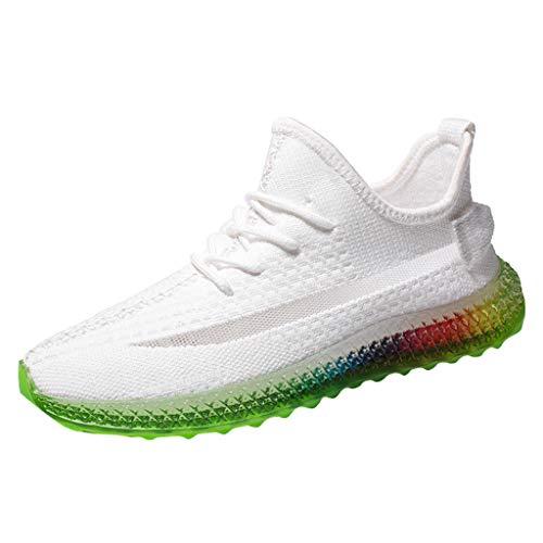 Herren Sportschuhe Trend Rainbow Jelly Soles Turnschuhe Outdoor Sneaker Fly Knit Laufschuhe Breathable Bequeme Freizeitschuhe für Trainning Running Fitness Gym Walking Jogging, Weiß