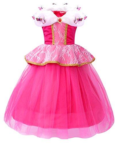 AmzBarley Prinzessin Aurora Kostüm Kleid Kinder Mädchen Schlafende Schönheit Verkleidung Schick Party Kleider Halloween Karneval Cosplay Geburtstag Festzug Ankleiden ()