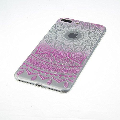 Coque iPhone 7 Housse étui-Case Transparent Liquid Crystal Mandala en TPU Silicone Clair,Protection Ultra Mince Premium,Coque Prime pour iPhone 7 (2016)-Bleu Fuchsia-1