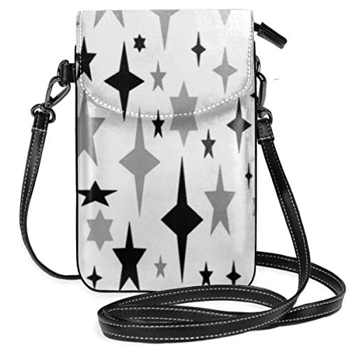 best pillow White Gray Black Atomic Stars Art Print Small Crossbody Bag Lightweight Leather Cell Phone Purse With Credit Card Slot 6 Cell White Star