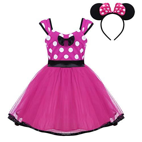 iiniim Baby Mädchen Kleid Festlich Kleid Prinzessin Polka Dots Kleid Halloween Weihnachten Fasching Partykleid Ballkleid Gr.74-104 Rose Rot 86-82/18-24 ()
