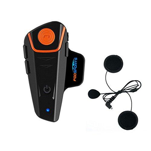 Fodsports Motorrad Bluetooth Gegensprechanlage Motorradhelm Kommunikation Walkie-Talkie Intercom Headset mit 1000m, GPS, FM Radio, MP3 Player, Verbinden bis zu 3 Reiter (1 Pack with Soft Cable)