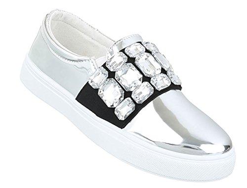 Slipper Silber Damen Schuhe Halbschuhe Loafer XxwnqER