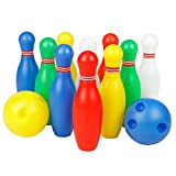 12 Pcs Skittles Bowling Set Toy Outdoor Indoor Bowling Pins Game with 2 Balls for Kids over 3 Years Old (small)