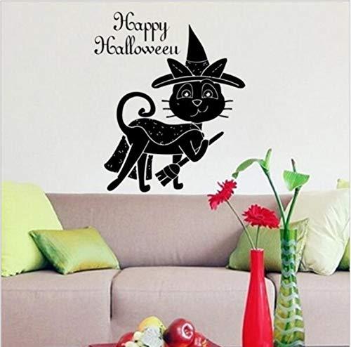 (Your boy-HT Magie Schwarze Katze Wandaufkleber Hut Besen Katze Happy Halloween Wandtattoos Halloween Dekoration PVC Wand Poster Vinyl Aufkleber)