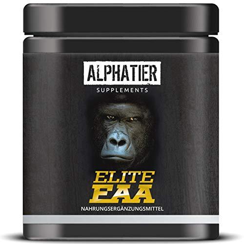 EAA KAPSELN - 360 Mega Caps a 750mg - hochdosiert - 8 essentielle Aminosäuren - ALPHATIER Elite EAAs Eiweißkapseln ohne Magnesiumstearat - Amino Fitness Supplement Made in Germany