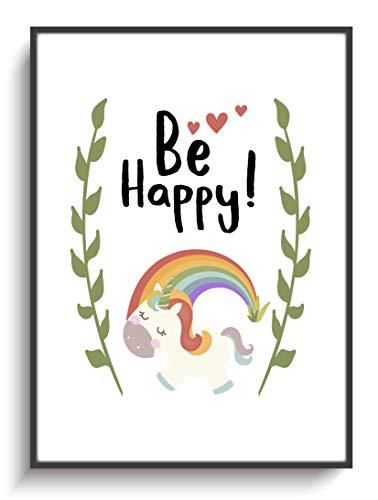 Dekoration Zuhause Kinderzimmer DIN A4 Plakat Einhorn Be Happy! Print ohne Rahmen Design Regenbogen Herz Modern Wanddekoration Wohnung