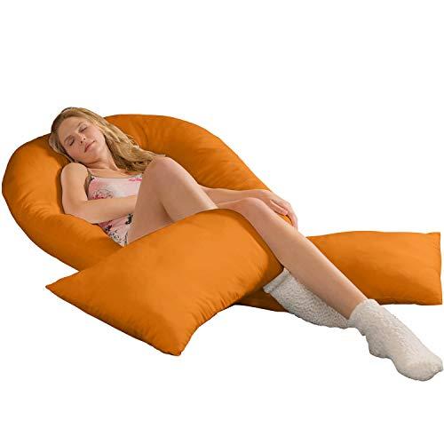 Jumbo XXL le plus grand coussin de positionnement sur le côté + Housse | Coussin de grossesse Coussin de positionnement Body Pillow orange