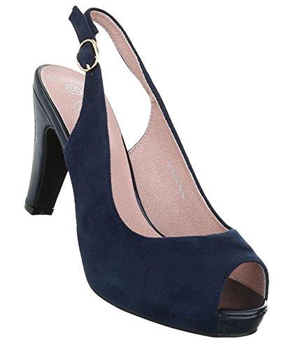 Damen Pumps Schuhe Elegant High Heels Peep Toe Dunkelblau