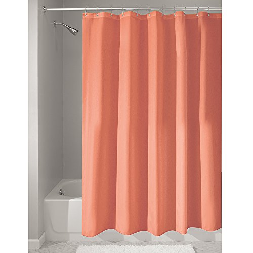 coral and brown shower curtain. interdesign mildew-free water-repellent fabric shower curtain, 183 x cm - coral and brown curtain m