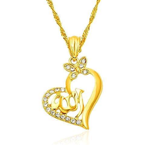 Mode NEUE 18 k Arabischen Muslimischen Gold Frauen Islamischen Allah Liebe Herz Anhänger Halskette Schmuck Ramadan Geschenk (Herz)