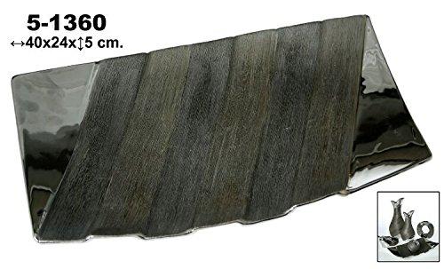 DonRegaloWeb-Centro rettangolare in ceramica con strisce in colore argento
