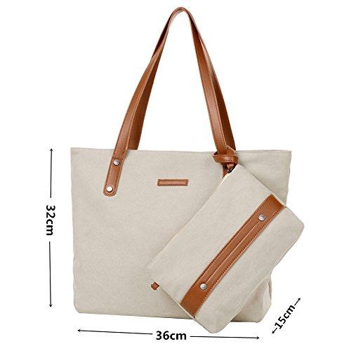 PB-SOAR Damen Vintage Canvas Shopper Handtasche Set 2 Stücke Schultertasche Einkaufstasche Geldbörse (Grau) Weiß