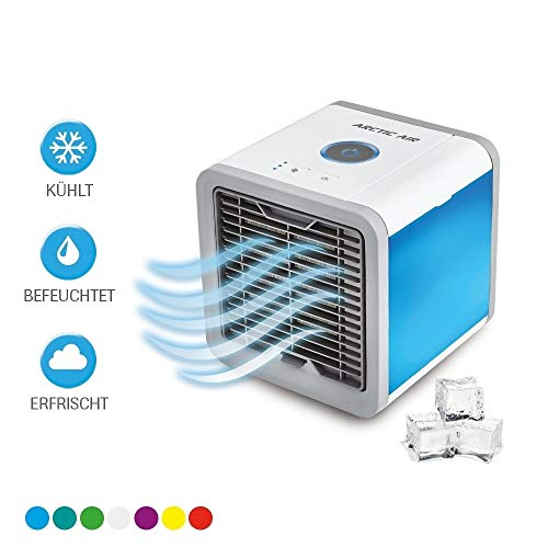 Mediashop Arctic Air Verdunstungsgerät Lufterfrischer mobiler Luftkühler ✓ mit USB Anschluß und Netzstecker ✓ Hydro-Chill Technologie ✓ 3 Kühlstufen ✓ 7 Stimmungslichter | Das Original aus dem TV - Sein Design